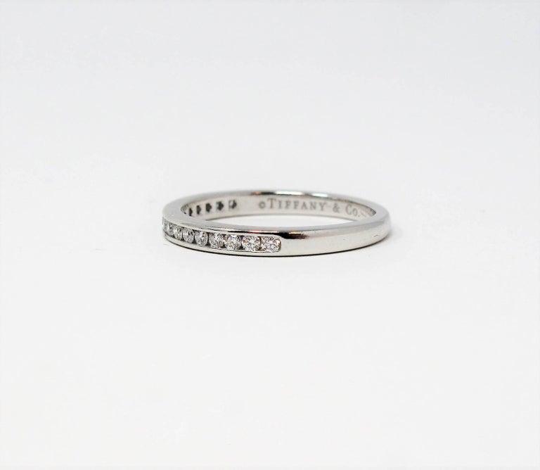 Round Cut Tiffany & Co. Channel Set Semi Eternity Diamond Wedding Band Ring in Platinum For Sale