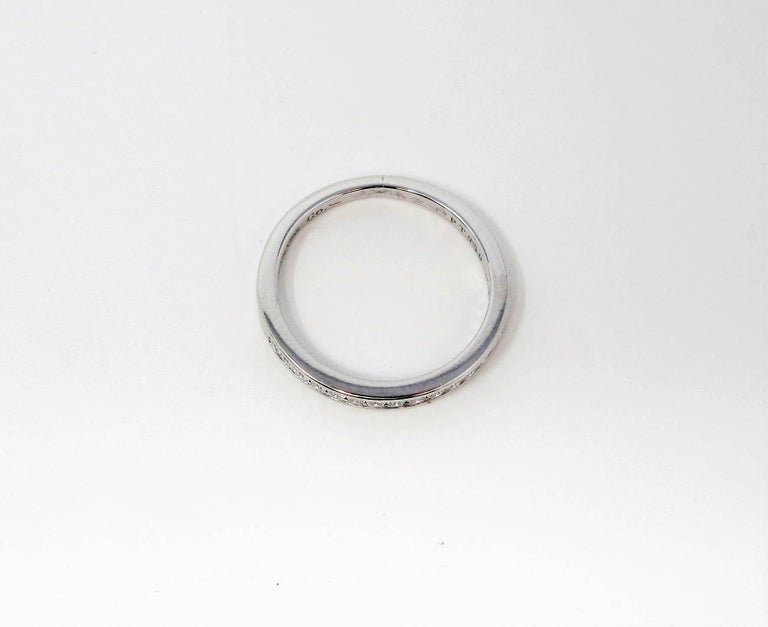 Tiffany & Co. Channel Set Semi Eternity Diamond Wedding Band Ring in Platinum In Good Condition For Sale In Scottsdale, AZ