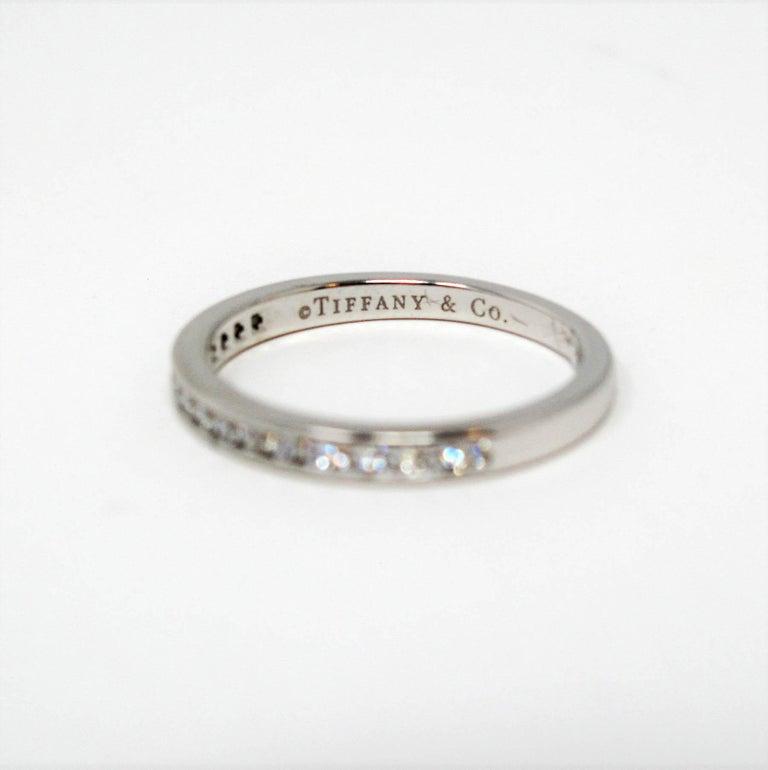 Tiffany & Co. Channel Set Semi Eternity Diamond Wedding Band Ring in Platinum For Sale 4