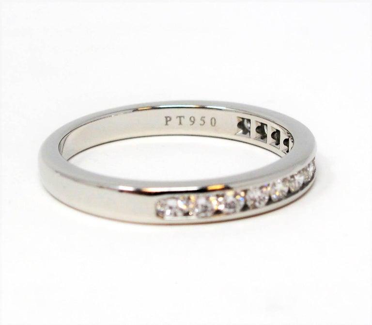 Tiffany & Co. Channel Set Semi Eternity Diamond Wedding Band Ring in Platinum For Sale 5