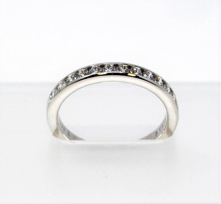 Tiffany & Co. Channel Set Semi Eternity Diamond Wedding Band Ring in Platinum For Sale 1