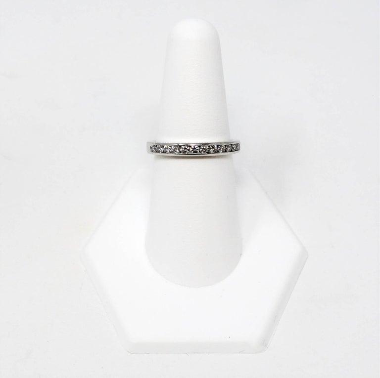 Tiffany & Co. Channel Set Semi Eternity Diamond Wedding Band Ring in Platinum For Sale 2