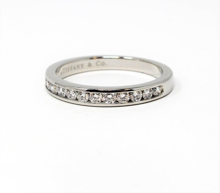 Tiffany & Co. Channel Set Semi Eternity Diamond Wedding Band Ring in Platinum For Sale 3