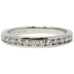 Tiffany & Co. Channel Set Semi Eternity Diamond Wedding Band Ring in Platinum