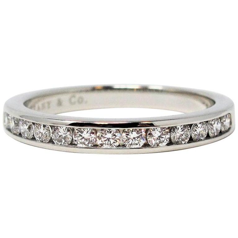Tiffany & Co. Channel Set Semi Eternity Diamond Wedding Band Ring in Platinum For Sale