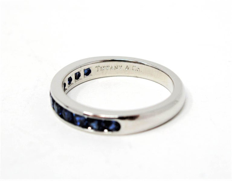 Tiffany & Co. Channel Set Semi Eternity Sapphire Band Ring in Platinum For Sale 2