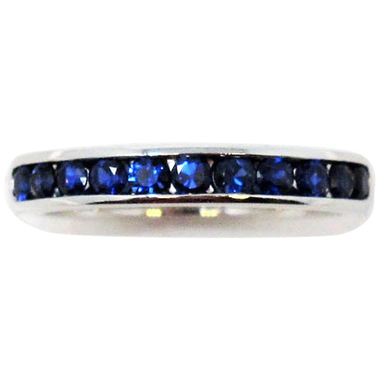 Tiffany & Co. Channel Set Semi Eternity Sapphire Band Ring in Platinum For Sale