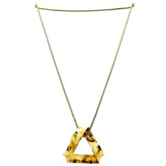 Tiffany & Co. Charles Perry Vintage Yellow Gold Abstract Pendant Chain Necklace