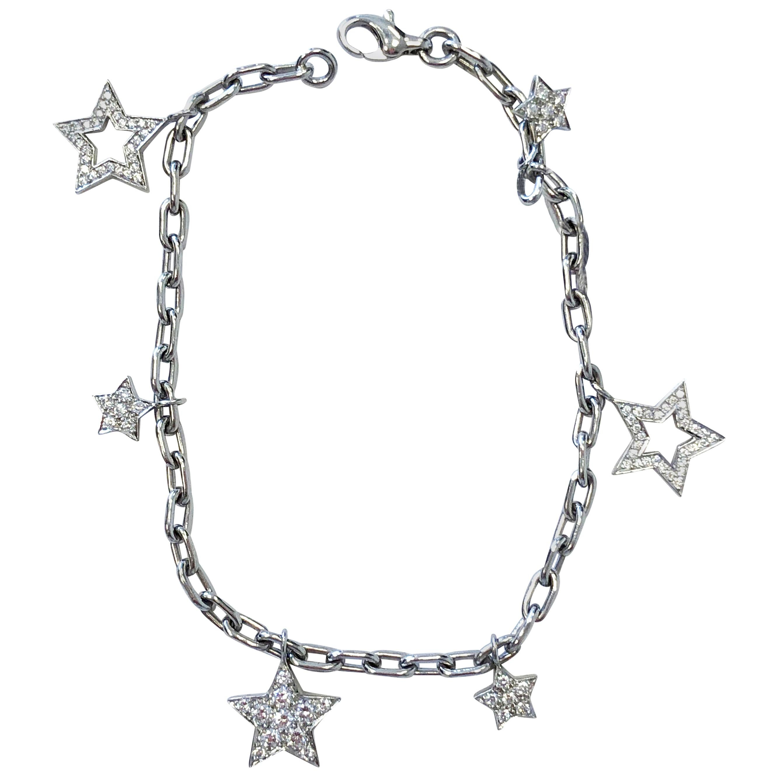 Tiffany & Co. Charm Bracelet with White Diamonds in Platinum