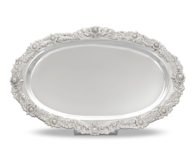 American Tiffany & Co. Chrysanthemum Silver Serving Tray For Sale