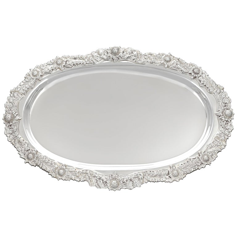 Tiffany & Co. Chrysanthemum Silver Serving Tray For Sale