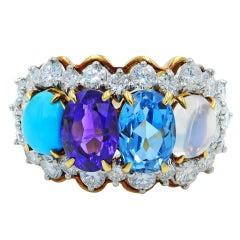 Tiffany & Co. circa 1950 Four Stone Gemstone Diamond Ring Yellow Gold 3.00 Carat
