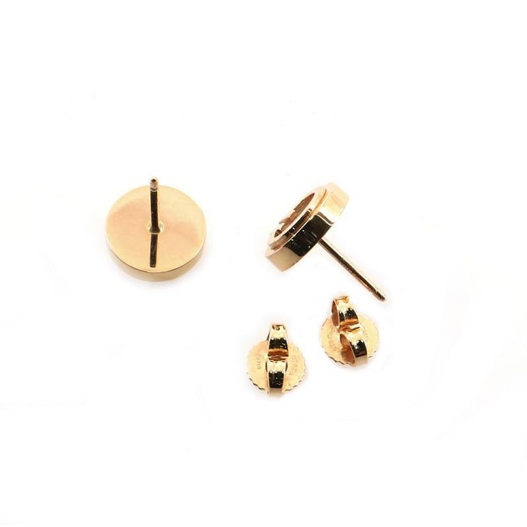 Women's or Men's Tiffany & Co. Circle Stud Earrings 18K Rose Gold and Mother of Pearl For Sale