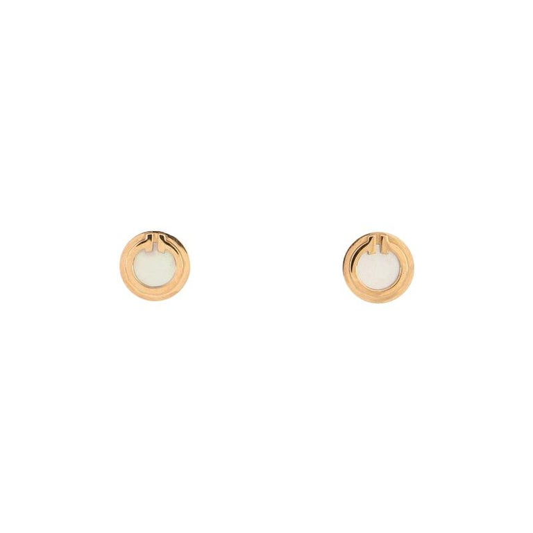 Tiffany & Co. Circle Stud Earrings 18K Rose Gold and Mother of Pearl For Sale