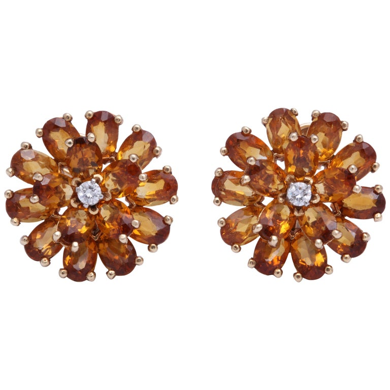 e17f2ae27 Tiffany & Co. Citrine and Diamond Earrings For Sale. Tiffany floral cluster  earrings in 18K yellow gold ...