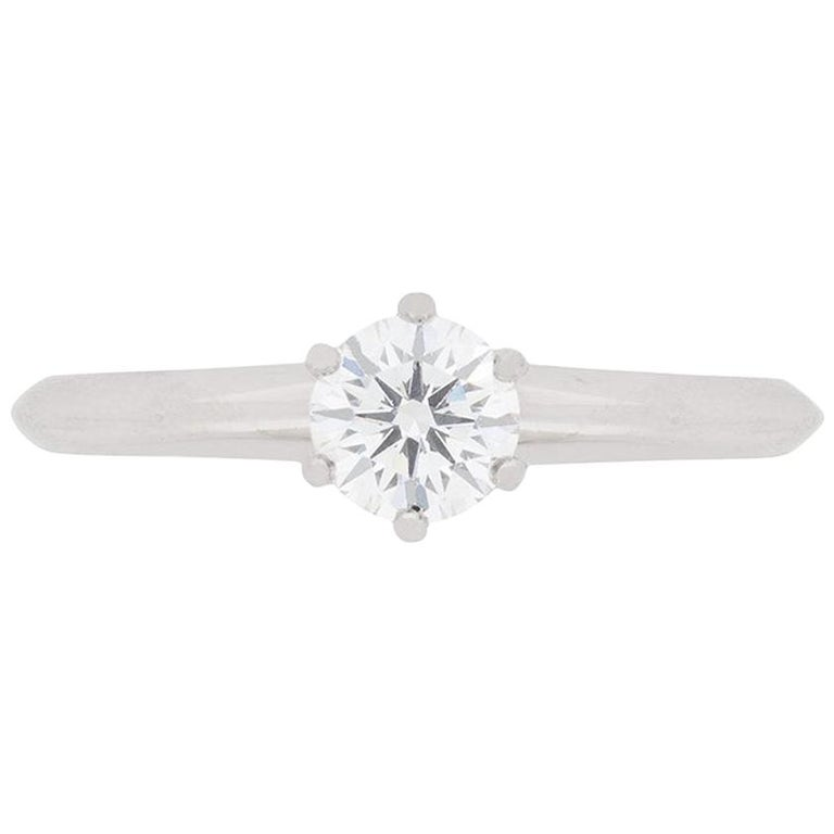 Tiffany & Co. Classic Diamond Solitaire Engagement Ring For Sale