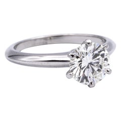 "Tiffany & Co. ""Classic"" Engagement Ring with 1.54 Carat Round Center in Platinum"