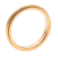Tiffany & Co. Classic Milgrain 18k Yellow Gold Wedding Band Ring Size 52