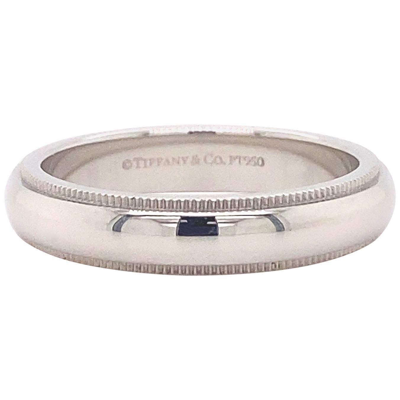 Tiffany & Co. Classic Milgrain Wedding Band Ring Platinum