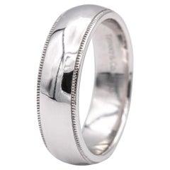 Tiffany & Co. Classic Platinum Millgrain Edge Wedding Band Ring