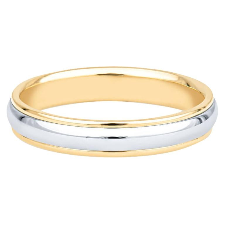 Tiffany & Co. Classic Two Tone Platinum & 18k Gold Wedding Band For Sale