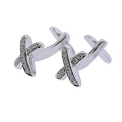 Tiffany & Co. Classic X Gold Diamond Cufflinks