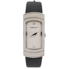 Tiffany & Co. 'Classique' White Gold Diamond Ladies Silk Strap Watch