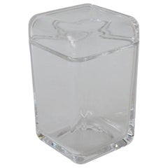 Tiffany & Co Clear Elongated Geometric Rectangular Glass Container /Jar with Lid