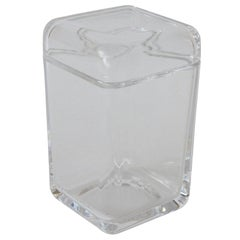 Tiffany & Co. Clear Elongated Geometric Rectangular Glass Container/Jar with Lid