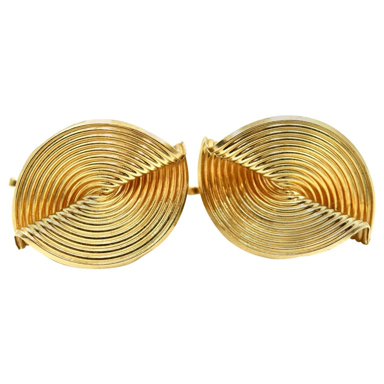 Tiffany & Co. Clip-On Earrings 14 Karat Yellow Gold For Sale
