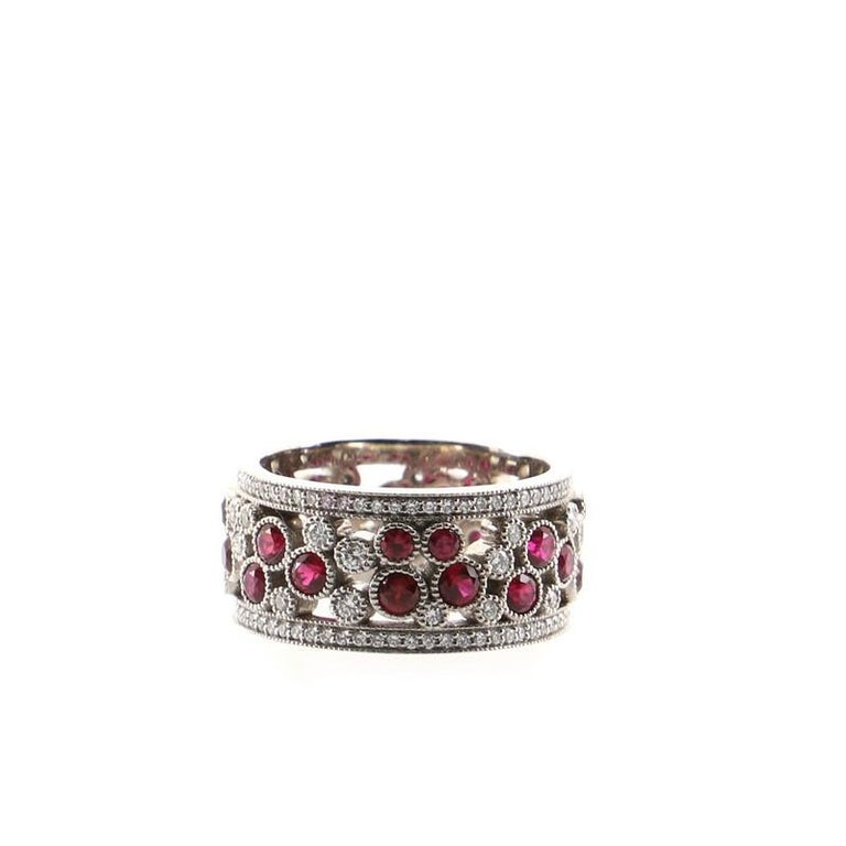 Tiffany & Co. Cobblestone Band Ring Platinum with Diamonds and Rubies In Good Condition For Sale In New York, NY