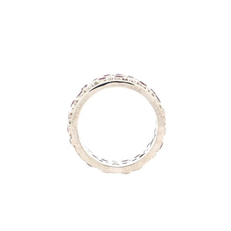 Women's or Men's Tiffany & Co. Cobblestone Band Ring Platinum with Diamonds and Rubies For Sale