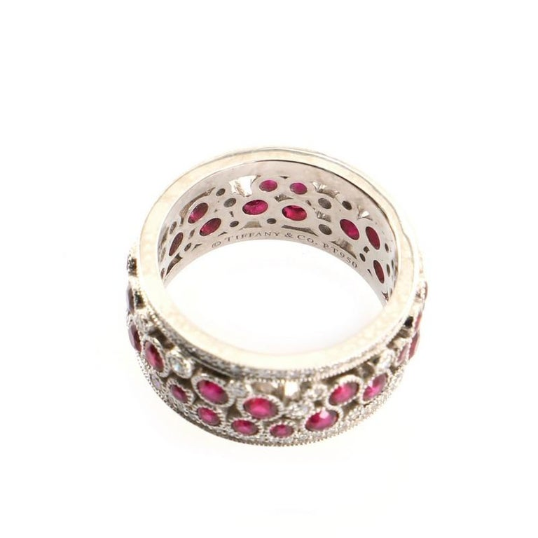 Tiffany & Co. Cobblestone Band Ring Platinum with Diamonds and Rubies For Sale 1