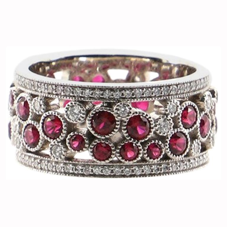 Tiffany & Co. Cobblestone Band Ring Platinum with Diamonds and Rubies For Sale