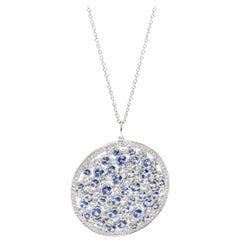 Tiffany & Co. Cobblestone Diamond and Blue Sapphire Necklace in Platinum