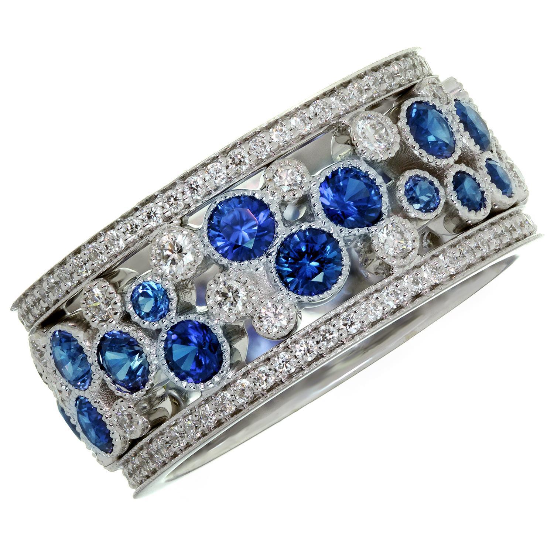 Tiffany & Co. Cobblestones Diamond Blue Sapphire Platinum Band Ring. Sz.6.5