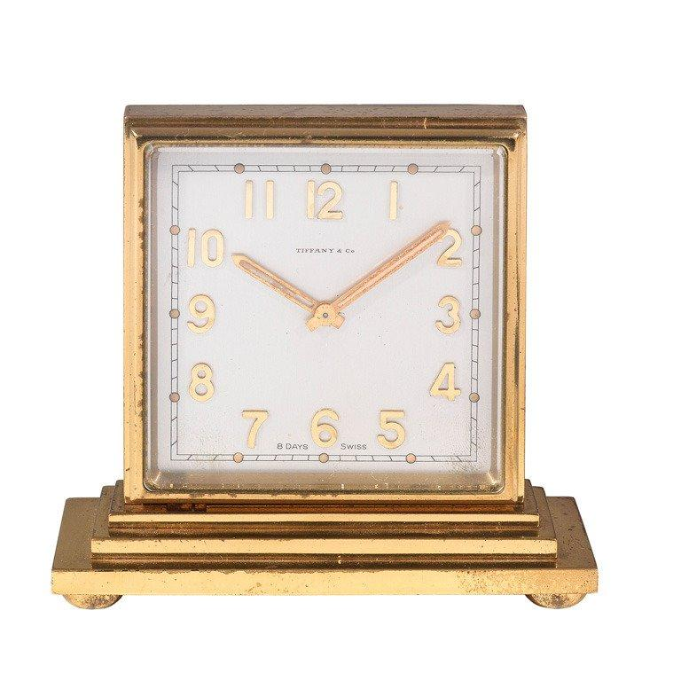 Modern Tiffany & Co. Concord Gilt-Brass Double-Dialed Eight-Day Desk Clock For Sale