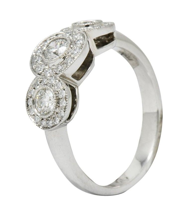 Tiffany & Co. Contemporary 1.00 Carat Diamond Platinum Three-Stone Circlet Ring For Sale 5