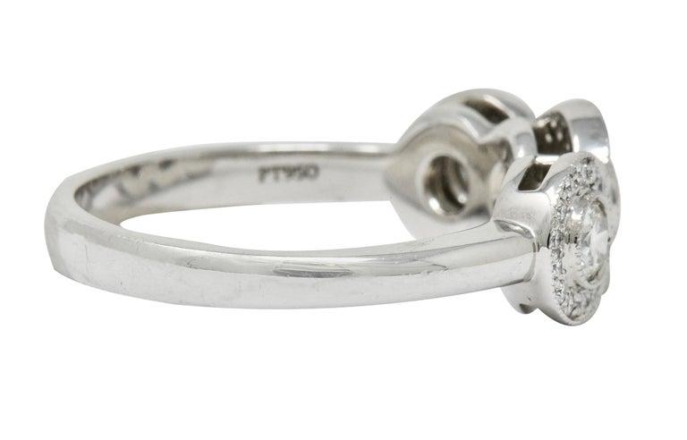 Round Cut Tiffany & Co. Contemporary 1.00 Carat Diamond Platinum Three-Stone Circlet Ring For Sale