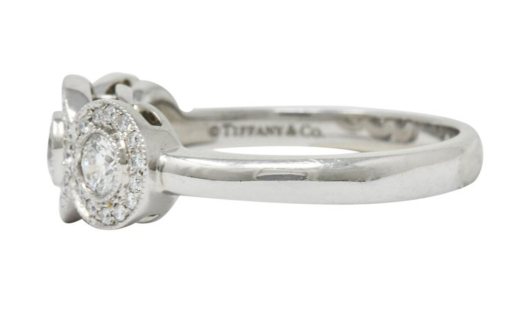 Women's or Men's Tiffany & Co. Contemporary 1.00 Carat Diamond Platinum Three-Stone Circlet Ring For Sale