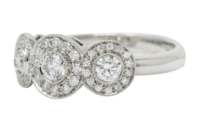 Tiffany & Co. Contemporary 1.00 Carat Diamond Platinum Three-Stone Circlet Ring For Sale 1