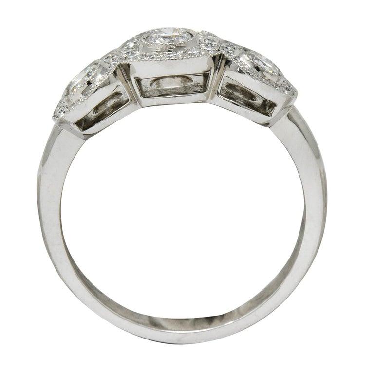 Tiffany & Co. Contemporary 1.00 Carat Diamond Platinum Three-Stone Circlet Ring For Sale 4