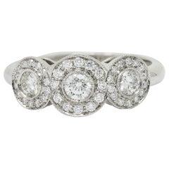 Tiffany & Co. Contemporary 1.00 Carat Diamond Platinum Three-Stone Circlet Ring