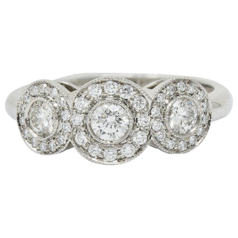 Tiffany & Co. Contemporary 1.00 Carat Diamond Platinum Three-Stone Circlet Ring For Sale