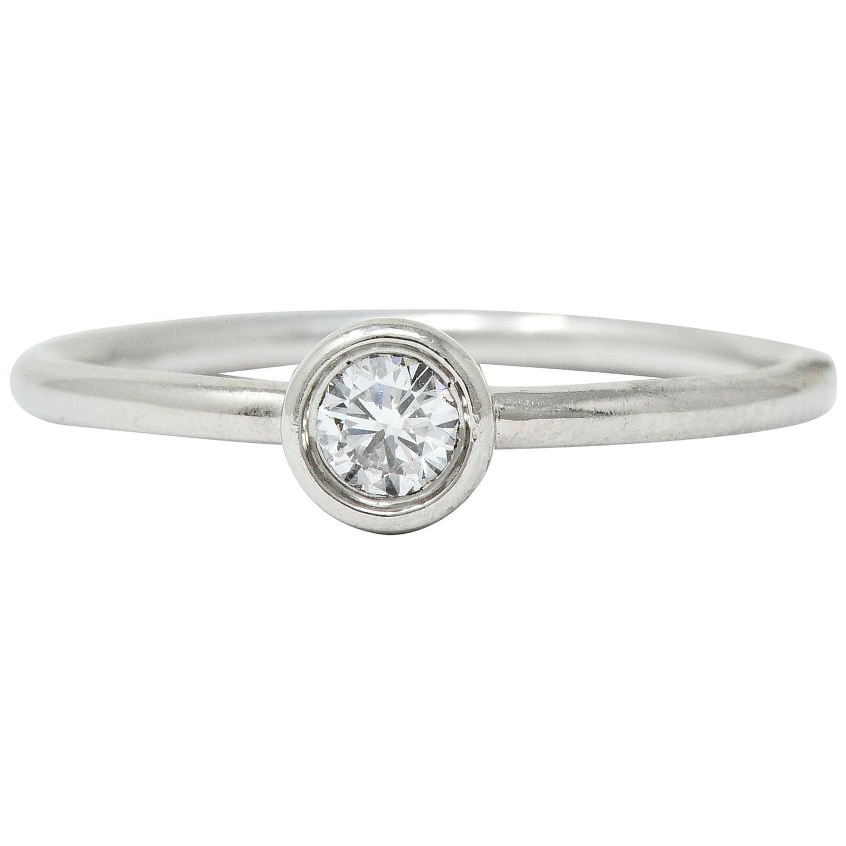 Tiffany & Co. Contemporary Diamond Platinum Bezet Solitaire Ring