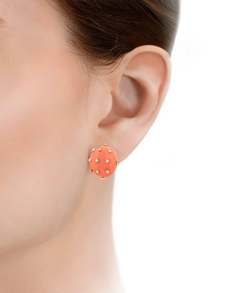 Modern Tiffany & Co. Coral and Diamond Earrings For Sale