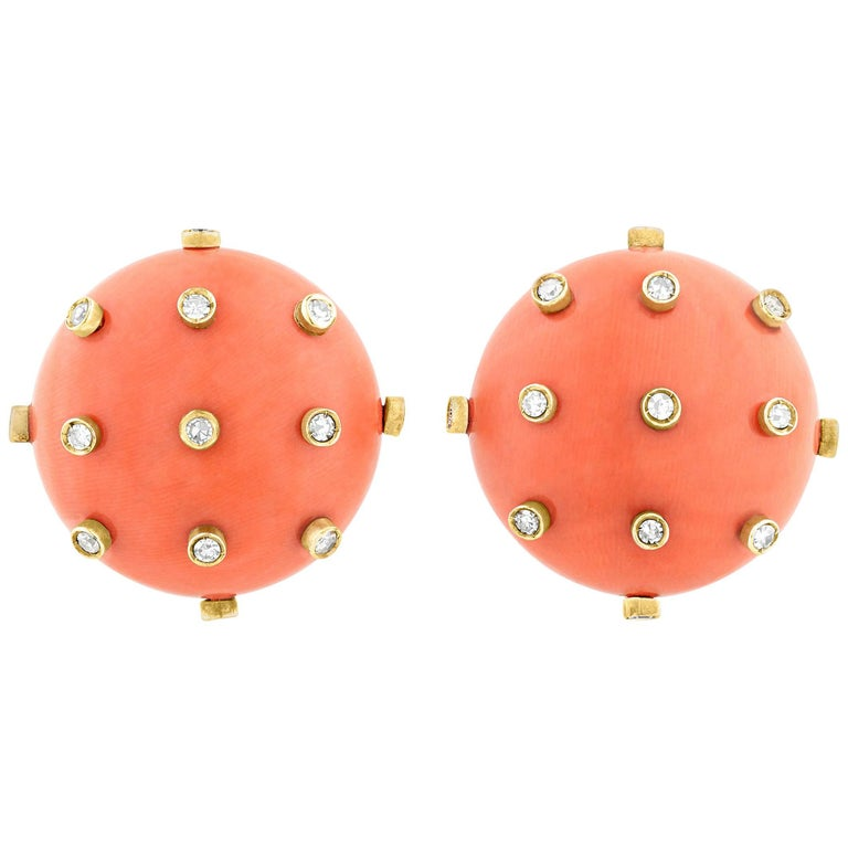 Tiffany & Co. Coral and Diamond Earrings For Sale
