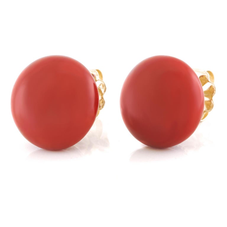 Cabochon Tiffany & Co. Coral Earrings For Sale