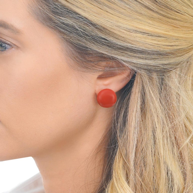 Tiffany & Co. Coral Earrings In Excellent Condition For Sale In Litchfield, CT