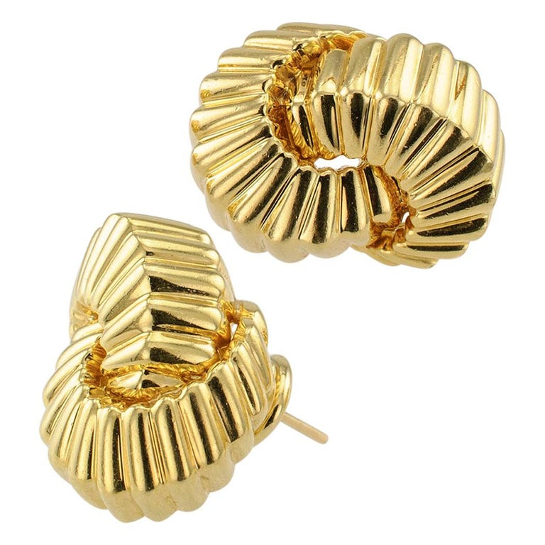 Tiffany & Co. Cordis 18-karat yellow gold earrings circa 1998. Excellent condition consistent with age and wear.  With posts and omega clip backs.   Why not Love Yourself a little with these wonderful Tiffany earrings as a treat for today?  And if